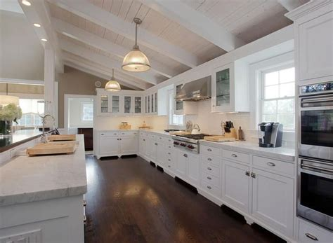 big white kitchen 27 beautiful white contemporary kitchen designs 959 | large white contemporary kitchen with marble countertops wood floors and white tile backsplash