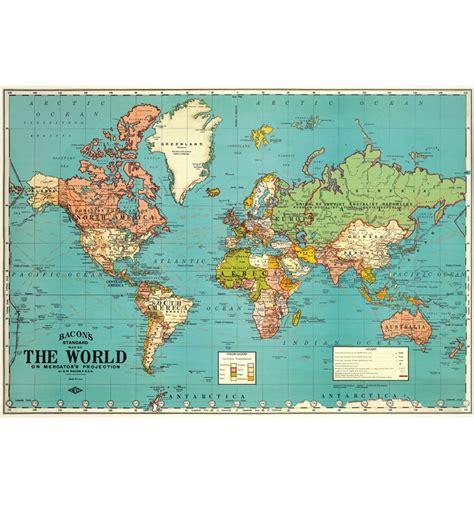 Photo De Carte Du Monde Vintage by Affiche Carte Du Monde The World Bleue Cavallini