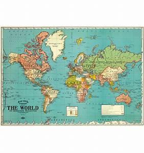 Affiche Carte Du Monde : affiche carte du monde the world bleue cavallini ~ Dailycaller-alerts.com Idées de Décoration