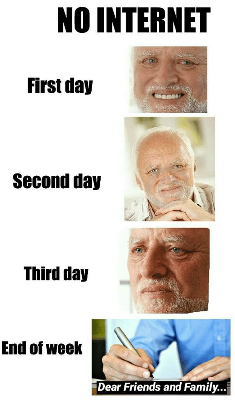 No Internet Meme - no internet first day second day third day end of week dear friends and family dank meme on me me