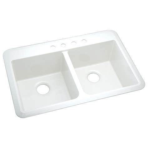 composite kitchen sinks undermount shop sterling slope 22 in x 33 in white 2 hole composite