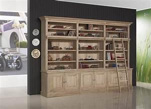 Bibliotheque Chene Massif : biblioth que 2 corps 6 portes alix en ch ne massif de style directoire avec echelle meuble en ~ Teatrodelosmanantiales.com Idées de Décoration