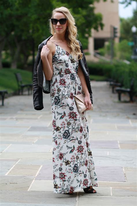 edgy floral maxi dress moto jacket lace  booties meagans moda