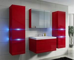 Badezimmer Spiegelschrank Led : kaufexpert badm bel set prestige rot hochglanz lackiert keramik waschbecken badezimmer led ~ Indierocktalk.com Haus und Dekorationen