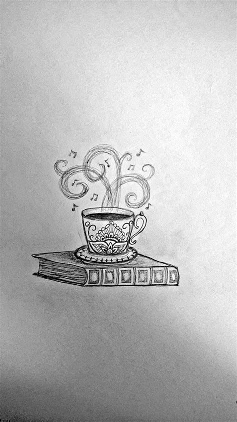 Coffee cup & book idea #3 | Tattoo Ideas | Tatuajes de café, Tatuaje libro, Bocetos tatuajes