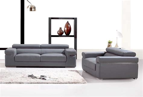 deco in ensemble canape 3 2 places en cuir gris