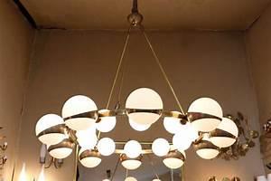 Grand Lustre Design : grand lustre rond maison stilnovo 1950 lustres ~ Melissatoandfro.com Idées de Décoration