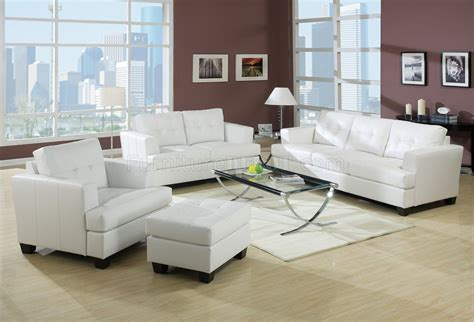 White Leather Living Room : Bonded Leather Living Room 15095 White