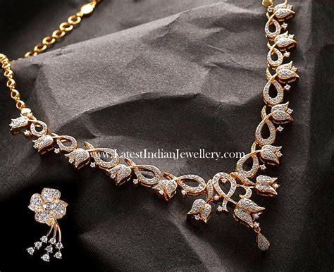 Design Diamonds by Lotus Floral Design Necklace Set Indian