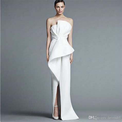 Unique Strapless White Evening Gown Floor Length Fashion ...