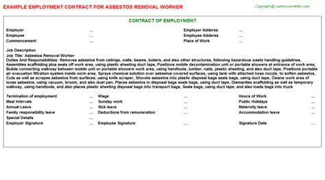 asbestos removal worker employment contracts