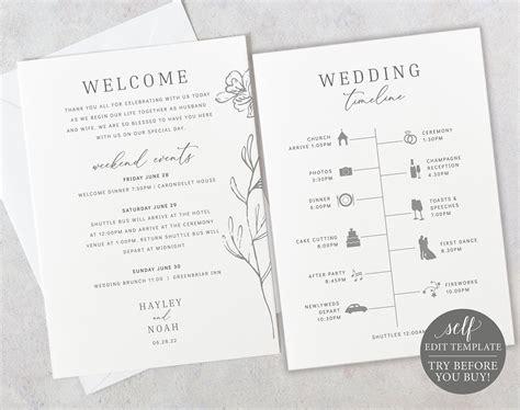 wedding itinerary card template elegant botanical