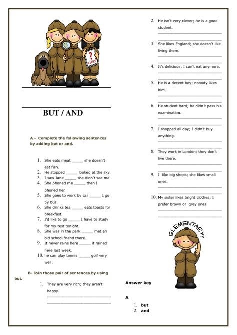 conjunctions and but elementary worksheet