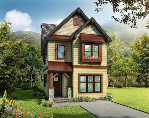 Narrow Cottage Plans by Cleverly Designed Narrow Lot House Plan 17808lv