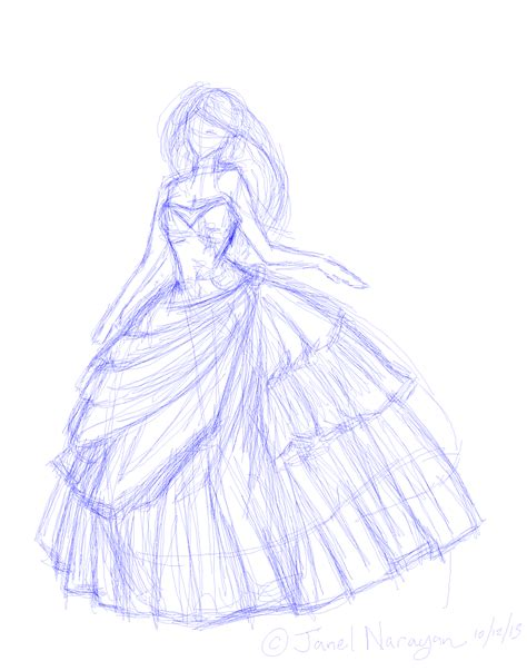 lovely sketch    quinceanera dress