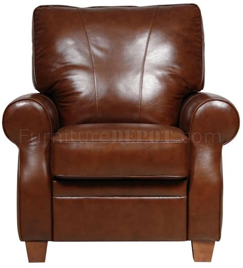 caramel italian leather pushback recliner chair