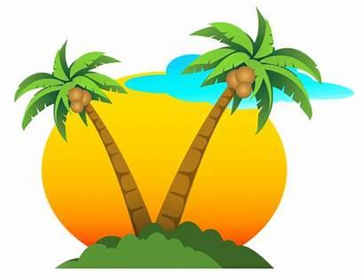 Sun Clipart Vector Palms Summer Vacation Transparent