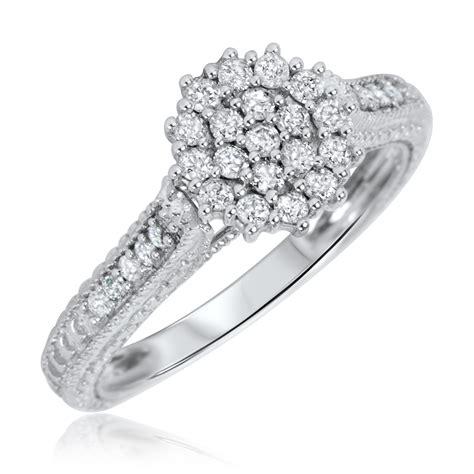 3 4 carat bridal wedding ring set 14k white gold
