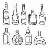 Alcohol Bottles Sketch Drawing Bottle Alkohol Alcool Bottiglie Flessen Depositphotos Bouteilles Liquor Raccolta Dell Alcol Flaschen Kollektion Kleurplaat Theepot Different sketch template