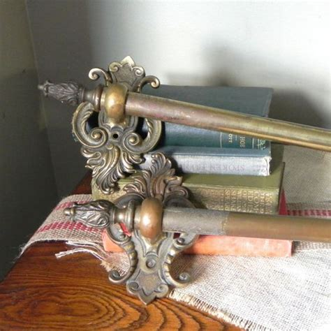 pair antique drapery curtain rods brass metal