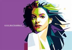 Anne Hathaway Vector Portrait Download Free Vector Art