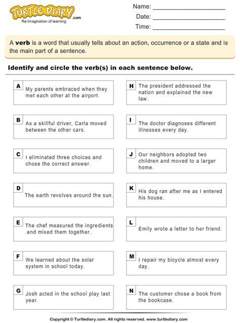 finding  verbs  sentences worksheet turtle diary