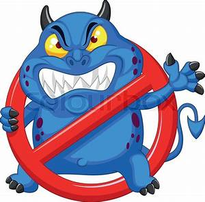 Vector Illustration Of Cartoon Cartoon Stop Virus