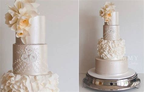 asymmetrical ruffles wedding cake design by yummy cupcakes