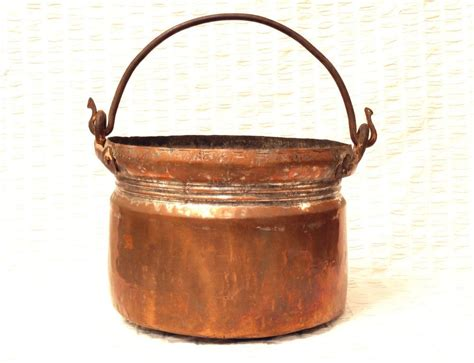 large antique copper pot cauldron  iron handle hand forged tin lined country  images
