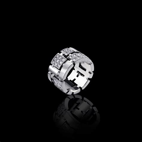 cubism pave diamond ring alternating diamond  white gold
