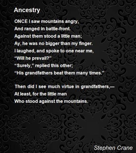 ancestry poem  stephen crane poem hunter