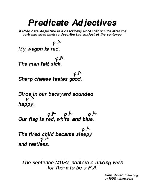 predicate nominative and predicate adjective worksheets