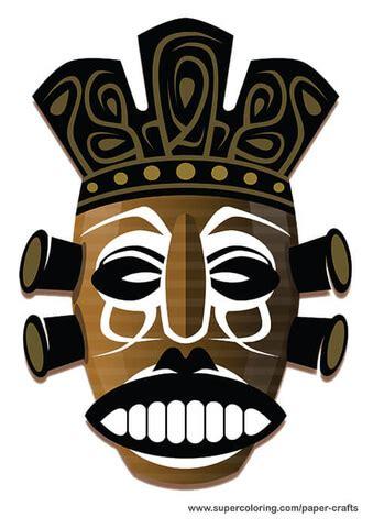 aboriginal mask paper template  printable papercraft