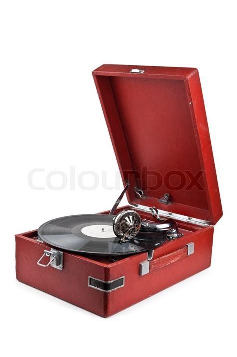 Vintage gramophone isolated on white   Stock image