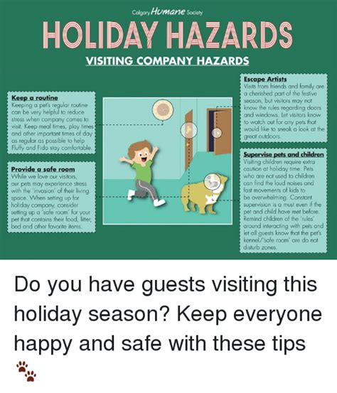 Colgaryhumane Sociely Holiday Hazards Visiting Pany