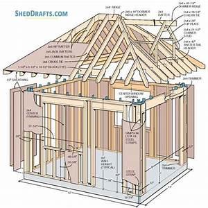 10 U00d712 Hip Roof Storage Shed Dormer Plans Blueprints To Assemble Potting Shed