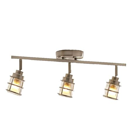 brushed nickel track lighting kits shop allen roth kenross 3 light 24 in brushed nickel