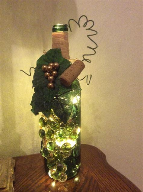 wine bottles christmas lights inside decorated wine