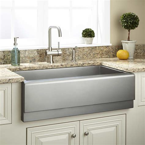 Black Stainless Steel Farmhouse Sink by 33 Quot Archer Stainless Steel Farmhouse Sink Tiered Apron