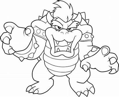 Coloring Evil Dragon Mario King Brothers Drawing