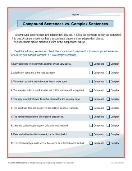 compound sentences vs complex sentences worksheet