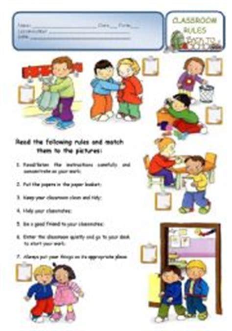 english worksheets classroom rules    school