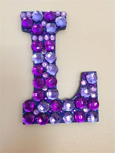 purple gem decorated letter  decorative letters scrapbook crafts monogram letters