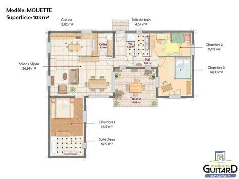 tour des chambres plan maison en l avec tour