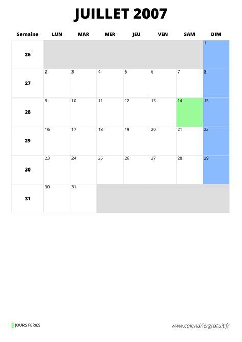 calendrier juillet   imprimer