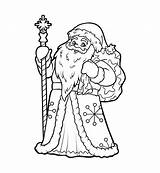 Ded Moroz Malbuch Padre Coloriage Kleurend Vater Traditionelle sketch template
