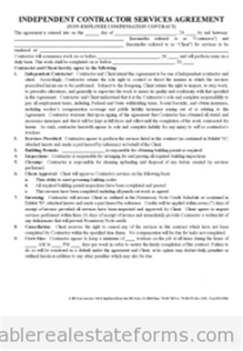 printable independent contractor agreement real estate