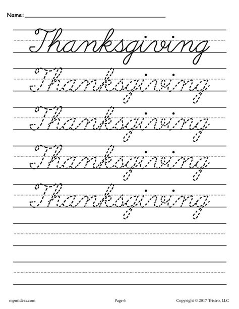 10 Free Cursive Handwriting Worksheets  Seasons And Holidays! Supplyme