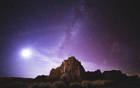 Wallpaper Rocks Milky Way Desert Purple Sky Night