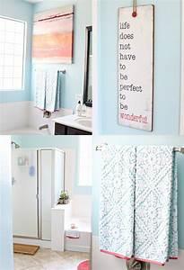 Diy coral and aqua bathroom makeover see vanessa craft for Aqua and coral bathroom